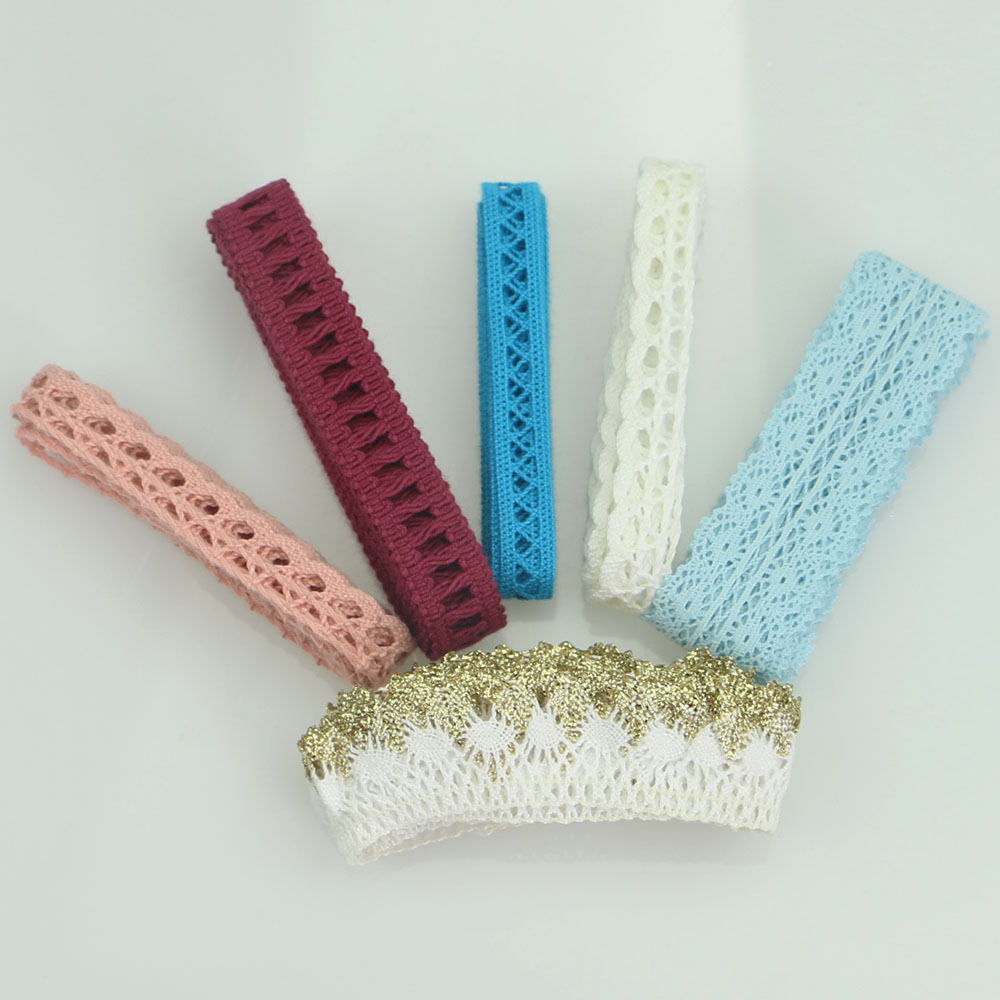 5 Yard Woven Cotton Lace Trim DIY Sewing Curtain Craft  Baby Blue Pink Ribbon
