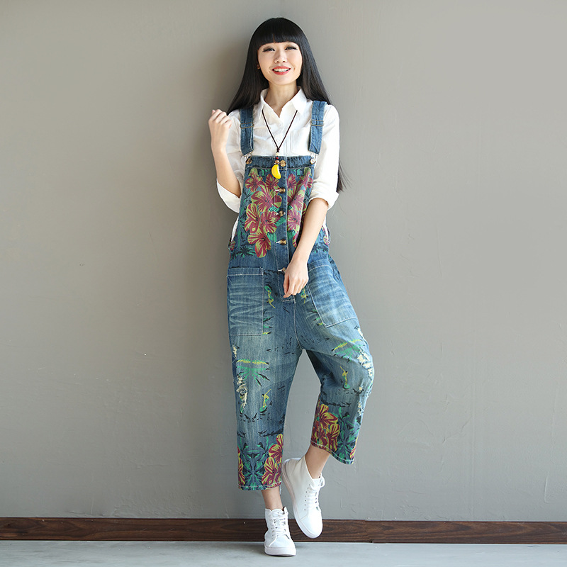 Spring Womens Jumpsuits Floral Printed Loose Jeans Overalls Ripped Holes Pants