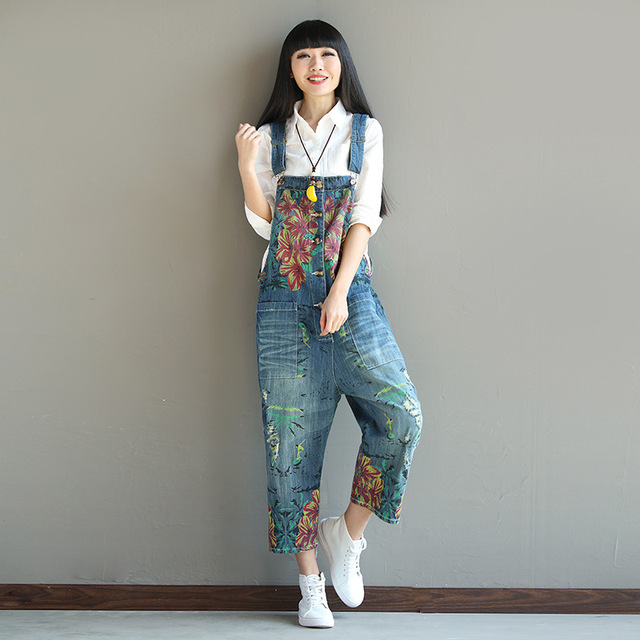 b514a3d8c7f Loose Print Floral Denim Jumpsuit Women Rompers Ripped Hole Overalls Bib  Pants Capri Jeans Suspenders Trousers