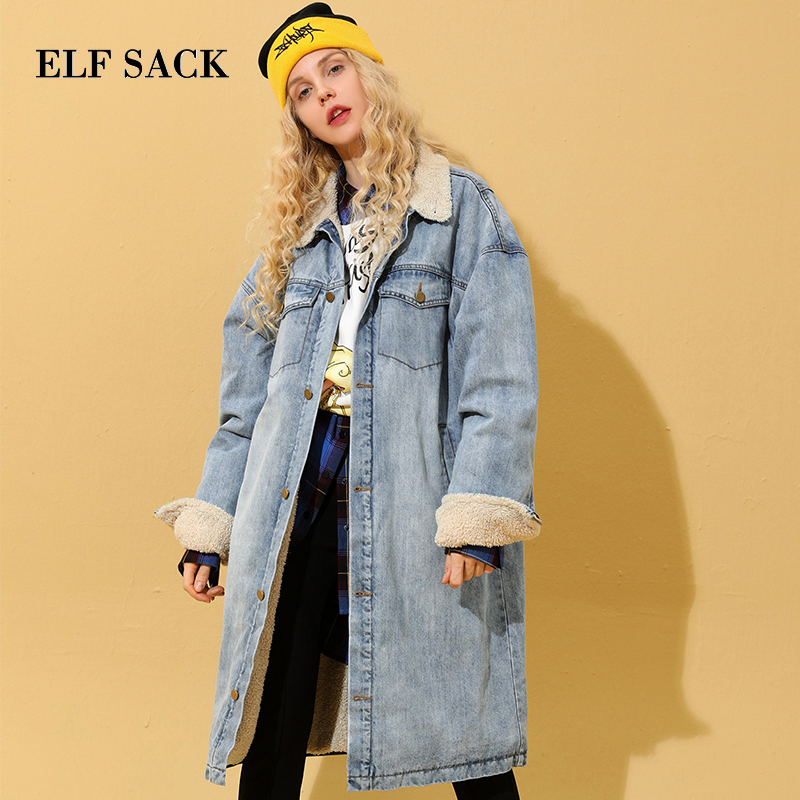 ELF SACK Winter New Warm Woman Coats Solid Casual Wide waisted Denim Women Jackets Thick Full