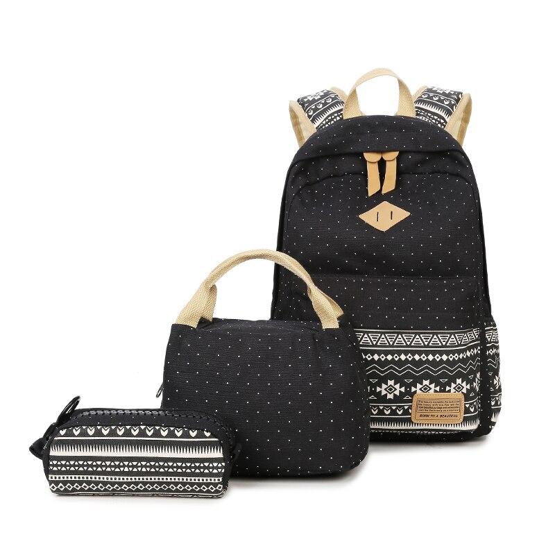 3 шт. школьные сумки для девочек-подростков в черный горошек винтажная парусиновая школьный рюкзак детей этнические рюкзаки карандашом чем...