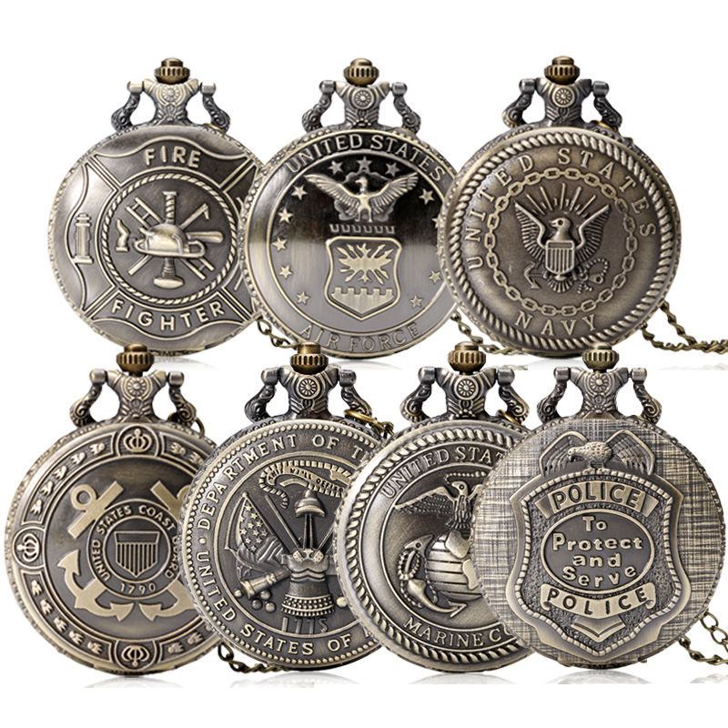 hot united states army navy airforce marine corps coast guard police firefighter full hunter pocket watch chain fob watches gift