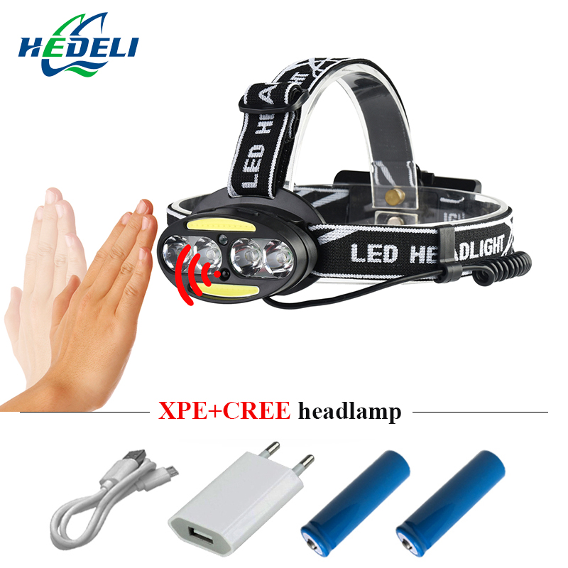 IR sensor rechargeable usb led headlamp led headlight 4 cree xml t6 2 cob head light 18650 head lamp flashlight torch headtorch
