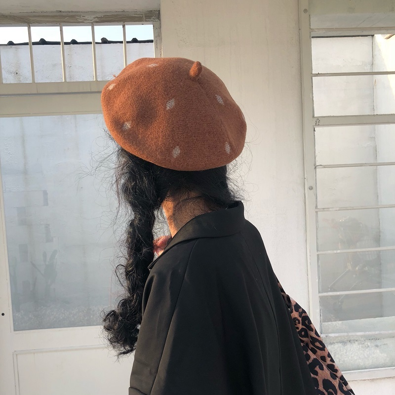 Hats Japanese Lovely Dot Beret Woman Autumn Winter Thickening Painter Hat Adjustable