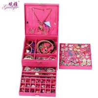 Guanya Red Pink Purple Case Velvet Wood Boxes Hot Sale Fashion Large Drawer Jewelry Display Organizer