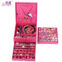 Гуаня Красный, розовый и фиолетовый цвет случае Velvet Wood Коробки Лидер продаж Мода Большой Jewelry Дисплей органайзер для хранения для переноски Чехол коробка
