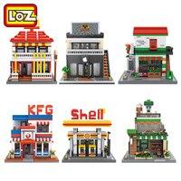 LOZ Diamond Blocks City Street Store Restaurant Mini Street View Model Building Kits Fast Food Shop