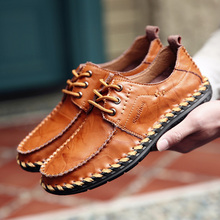 Men's hot sale Shoes 2019 Men Genuine Leather Loafers Shoes Fashion Handmade Soft Breathable Moccasins Flats mycolen handmade men flats shoes comfortable genuine leather mens shoes breathable soft loafers chaussure homme de marque