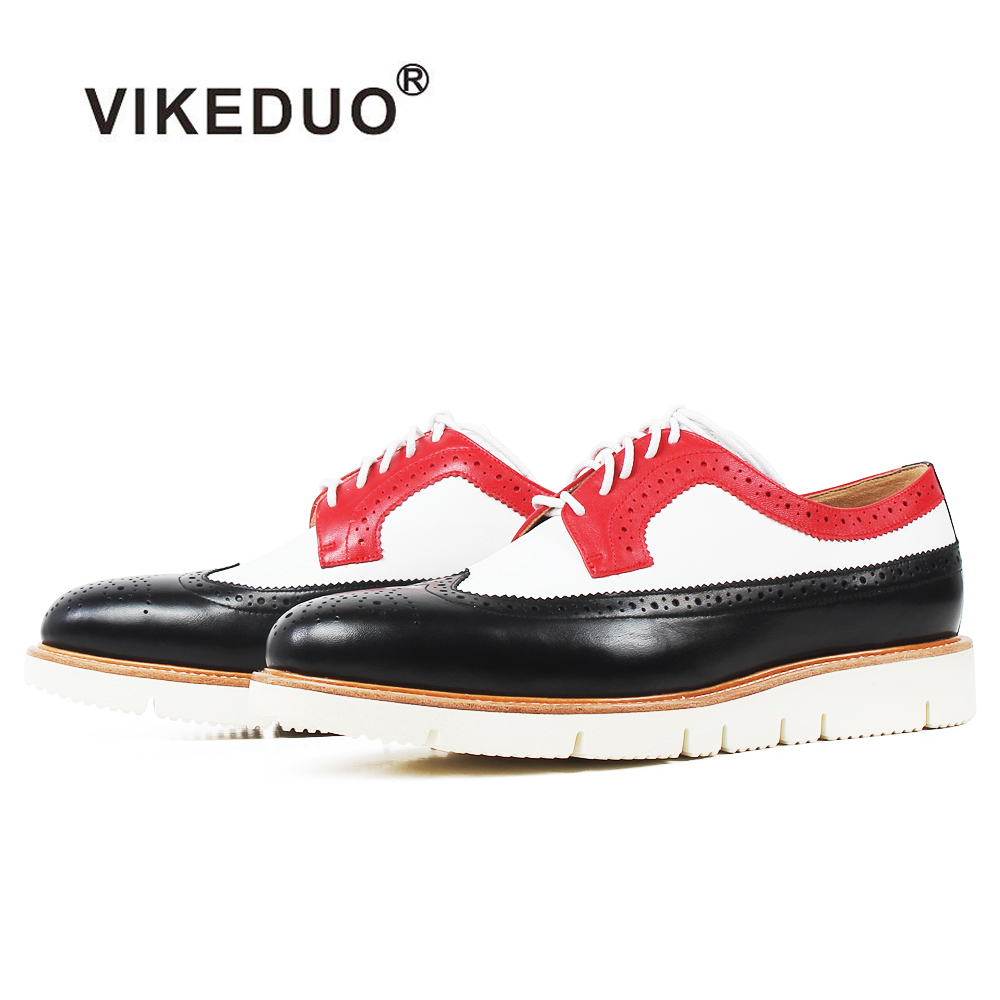 VIKEDUO Sneakers Men Genuine Cow Leather Patchwork Full Brogue Custom Made Mans Footwear Casual Luxury Sports