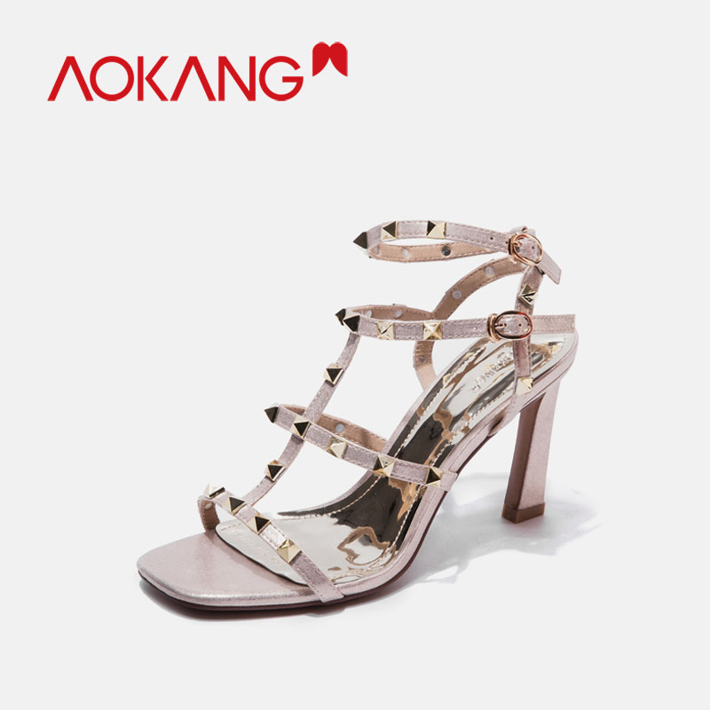 AOKANG 2019 sandals women summer high heels rivet gladiator fashion thin ankle strap buckle shoes