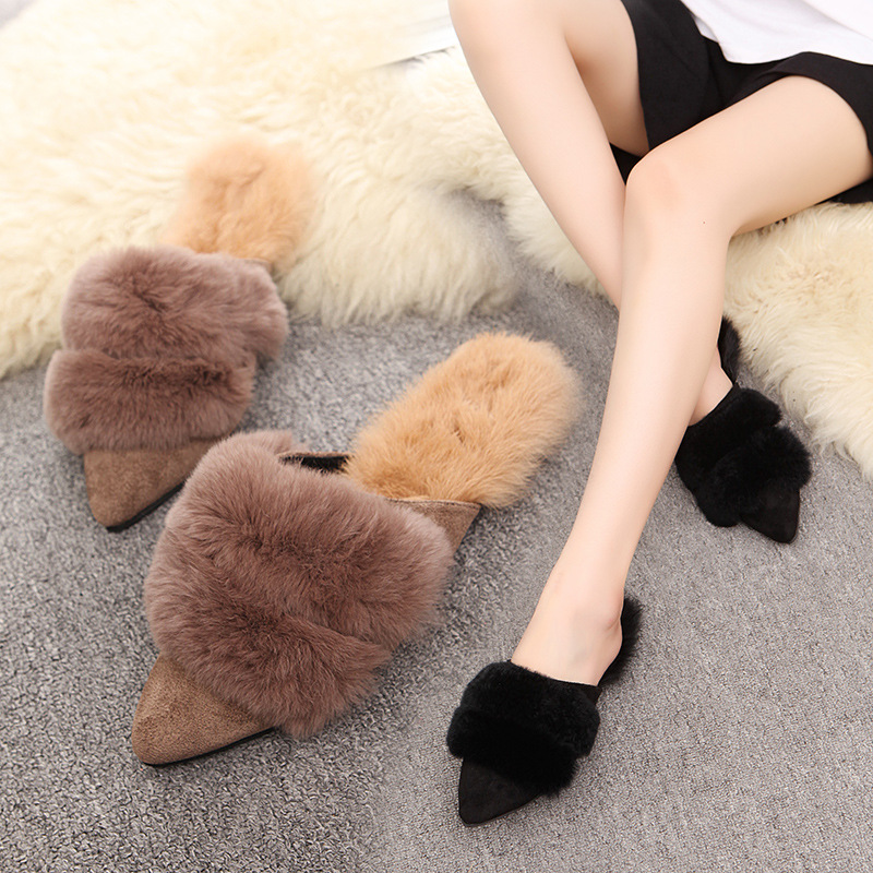 2018 Women Rabbit Fur Slippers Fashion Spring Winter Home Plush Woman Ladies Slippers Women Slides Flip Flops Flat Shoes Sandals 2017 winter new clothes to overcome the coat of women in the long reed rabbit hair fur fur coat fox raccoon fur collar