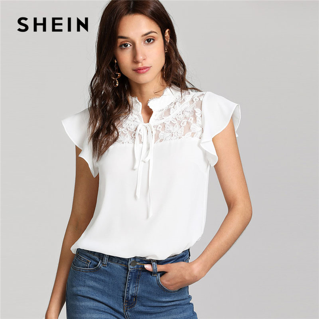 a76c20a8777 SHEIN White Knot Floral Lace Yoke Top Women Stand Collar Ruffle Butterfly  Sleeve Plain Blouse 2018 Summer Elegant Blouse