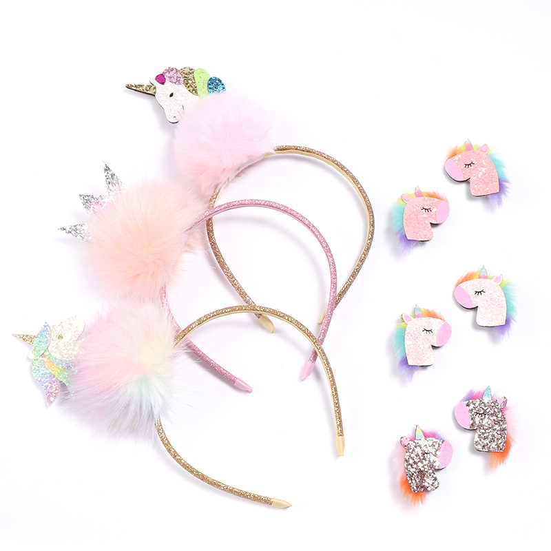 10pcs/lot Fairy Glitter Unicorn Headband Rainbow Color Cartoon Animal Horse Hard Headband Furry Animation Hair Clip Barrette