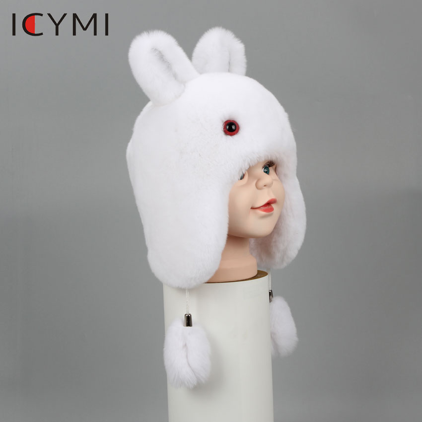 ICYMI New Russian Fur Hat Winter Boys Girls Real Rabbit Hat  Children Earmuffs Warm Fur Bomber Hats With Big Ear Rabbit Fur CapsHats
