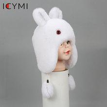 ICYMI New Russian Fur Hat Winter Boys Girls Real Rabbit Hat Children Earmuffs Warm Fur Bomber Hats With Big Ear Rabbit Fur Caps