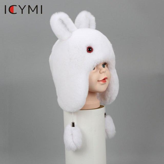 ICYMI Nieuwe Russische Bontmuts Winter Jongens Meisjes Real Konijn Hoed Kinderen Oorbeschermers Warm Fur Bomber Hoeden Met Grote Oor konijnenbont Caps