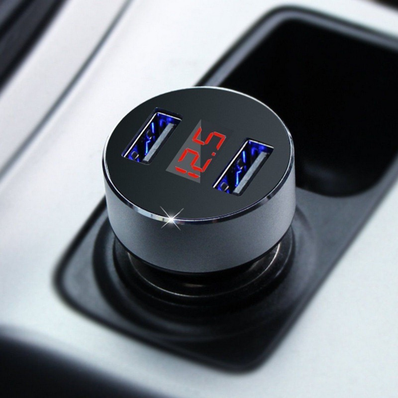 2 USB Car Cigarette Lighter DC 12V 24V Car Fast Charge ABS Aluminum 5V 3.1A Auto Charge With Blue LED Voltmeter Current Display 5v 3 1a dual usb car charger cup fast charge with voltage led display 2 car cigarette lighter socket usb car adapter cup holder