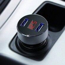 2 USB Sigaretta Dell'automobile di CC 12 v 24 v Auto Carica Veloce ABS di Alluminio 5 v 3.1A Auto Carica con LED Blu Voltmetro di Visualizzazione Corrente
