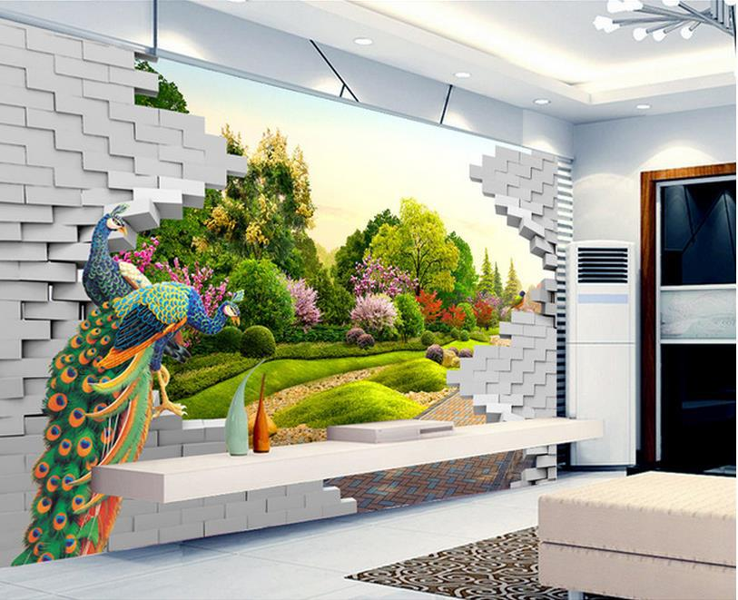 Custom Wallpaper Papel De Parede Peacock Green Landscape Garden Wall Mural  3d Mural Wallpaper 3d Wall Paper For Room In Wallpapers From Home  Improvement On ...