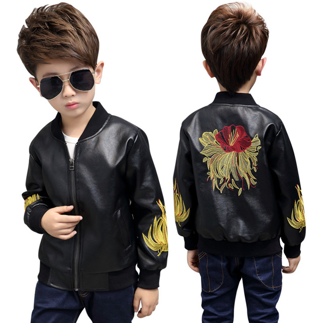 2019 spring and autumn children's leather jacket fashion boys and girls baby lapel leather children's short leather jacket