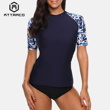b0d09e36229 Attraco Women Short Sleeve Rashguard Shirt Swimsuit Floral Print Swimwear  Surfing Top Running Biking Shirt Rash