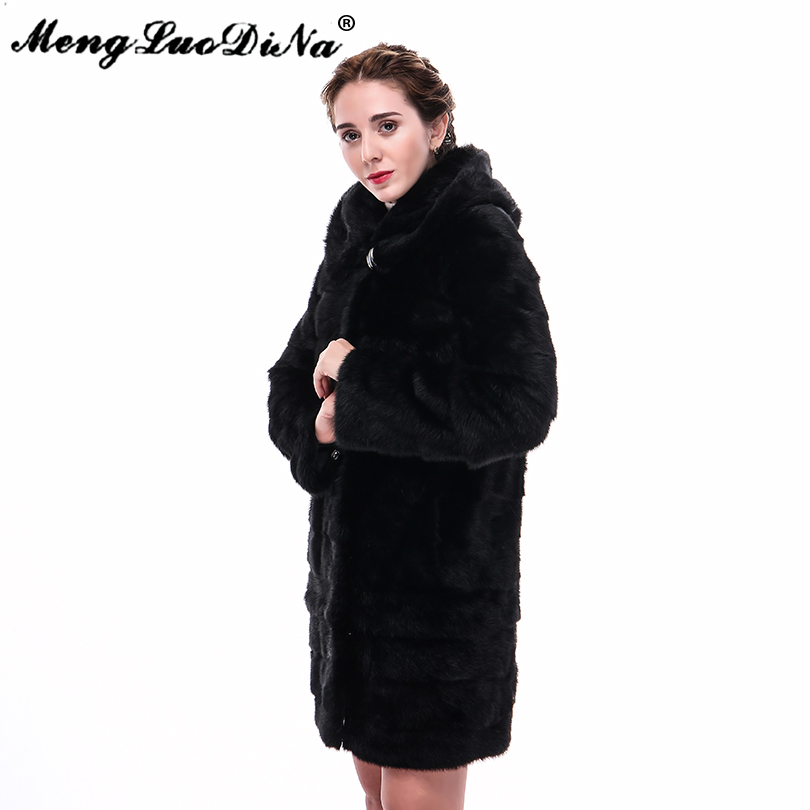 90CM Designer Women Warm Mink Fur Coat 100% Natural Fur Outwear Women's Long Jacket Street Outwear Black Hoodie Wear Fashion
