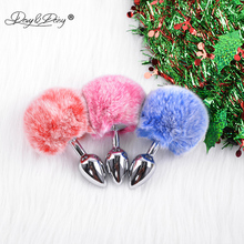 DAVYDAISY Christmas Soft Real Rabbit Fur Anal Plug Tail Stainless Steel Metal Butt Adult Sex Accessories for Women AC108