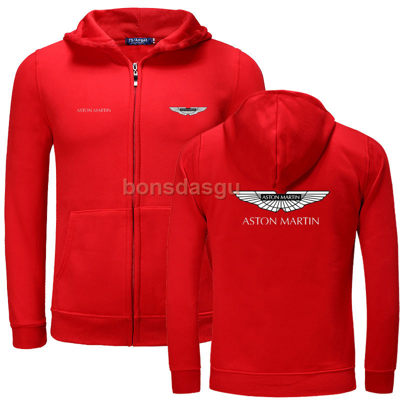 Aston Martin Zipper Hoodies Spring Autumn Fashion Men Sweatshirt Men