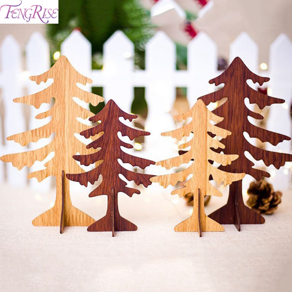 Wooden Christmas Crafts.Fengrise Wood Christmas Tree Artificial Wood Diy Crafts Table