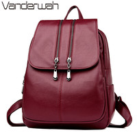 VANDERWAH 2018 High Quality Women Backpacks School Bags For Teenager Girls Double Zipper High Quality Leather