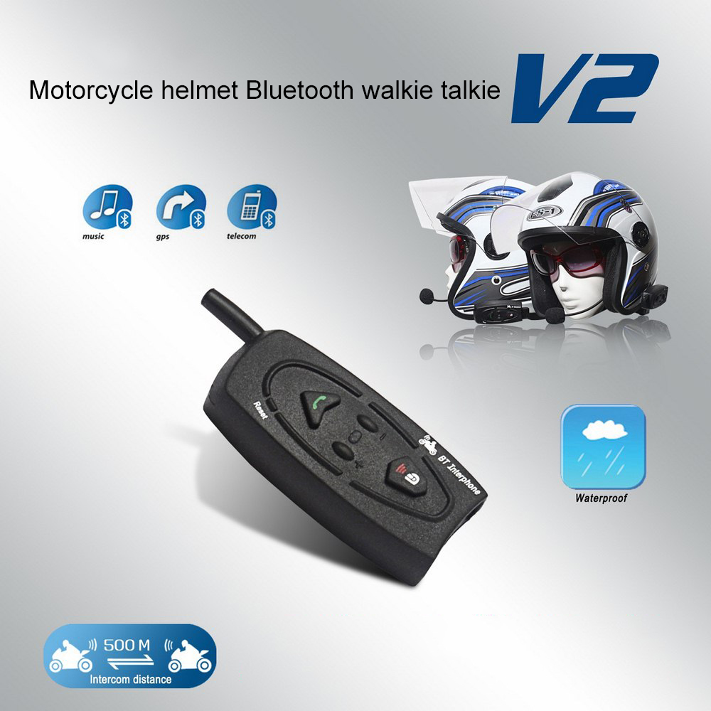Motorcycle Helmet Bluetooth Walkie-talkie V2-500 Smart Full Duplex Bluetooth Real-time Stereo Walkie-talkie Waterproof Windproof