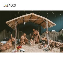 Laeacco Nativity Scene Jesus Birth Christmas Religious Barn Photographic Backgrounds Photography Backdrop Photocall Photo Studio