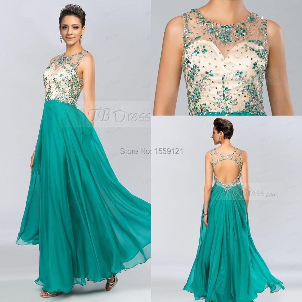 Verde esmeralda Vestido de Fiesta Barato Largo 2017 Pura Por Encargo A,Line  Scoop Gasa
