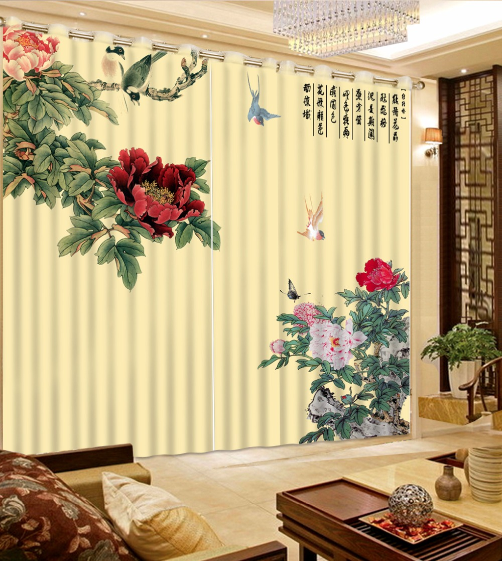 Flower Decoration Curtains Printing 3D Curtains For Bedroom Living Room Thick Polyester/Cotton CurtainsFlower Decoration Curtains Printing 3D Curtains For Bedroom Living Room Thick Polyester/Cotton Curtains
