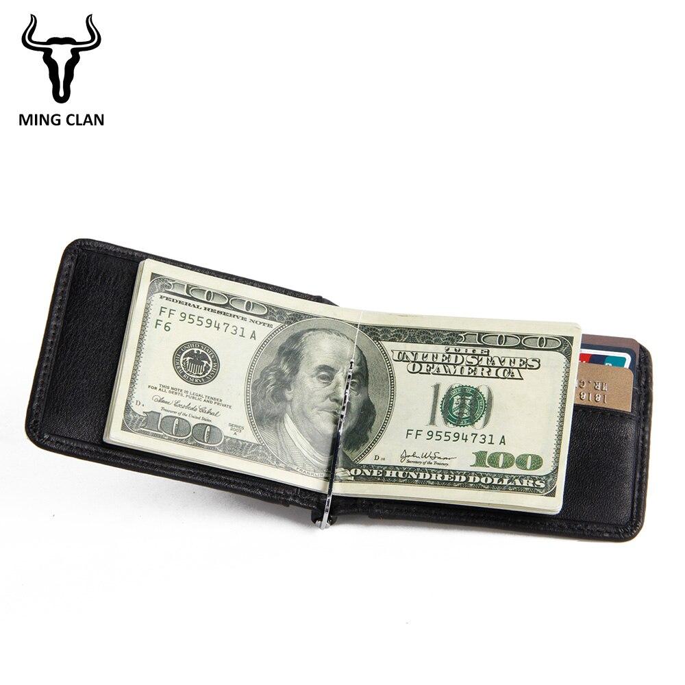 Mingclan Slim Brand Men Women Genuine Leather Bifold Male Purse Billfold Wallet Money Clip Female Clamp For Cash Holder Clips