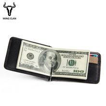 Mingclan Slim Brand Men Women Money Clip Small Wallet Genuine Leather Bifold Male Purse Billfold Credit Card Holder