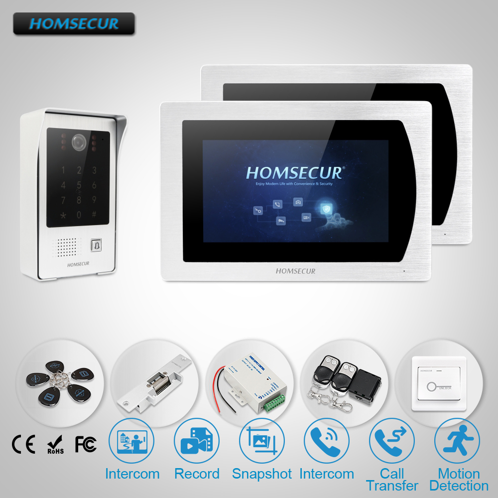 HOMSECUR 7 Wired Video&Audio Home Intercom Electric Strike Lock Set Included, Touch Screen Monitors for Apartment