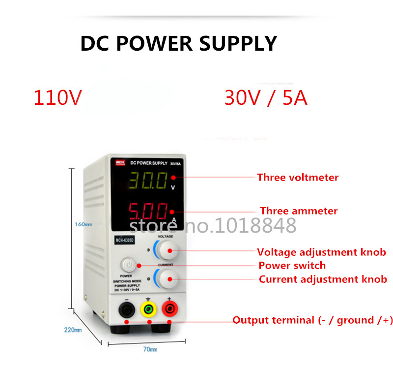 110v MCH-K305D Mini Switching Regulated Adjustable DC Power Supply SMPS Single Channel 30V 5A Variable MCH K305D mystery mch 1025
