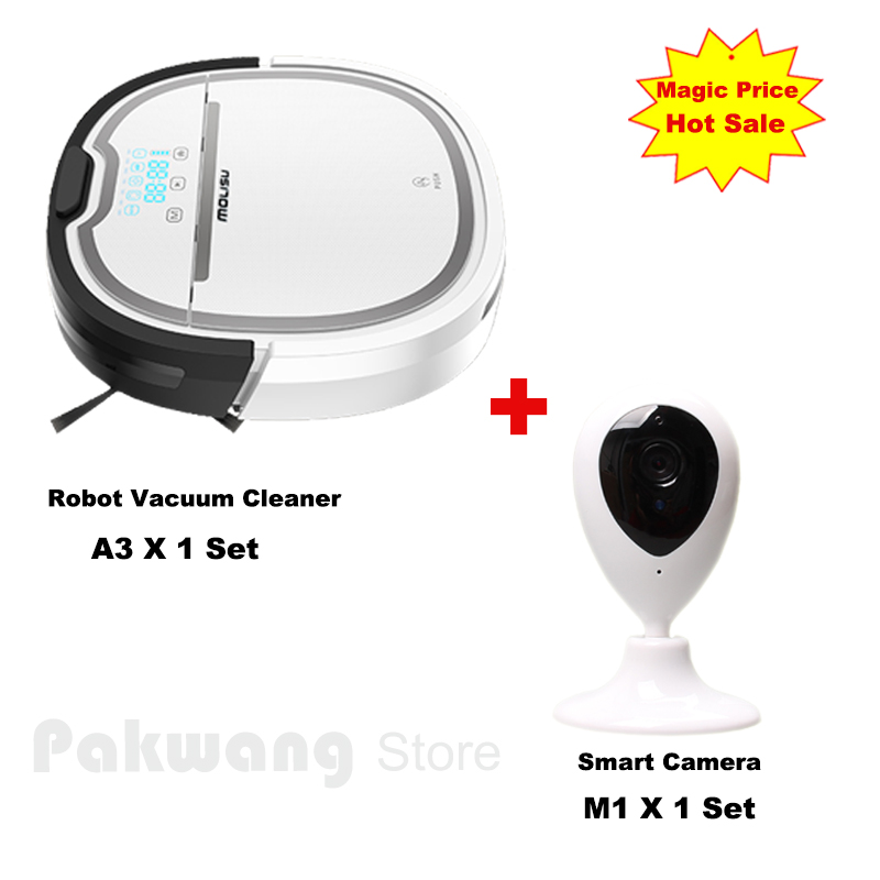 PAKWANG Wifi App Smart Camera And  A3 Wet and Dry Robot Vacuum Cleaner Schedule 750ml dustbin 180ml water tank Vacuum cleaner multifunctional robot vacuum cleaner wet and dry small front wheel 3 pcs