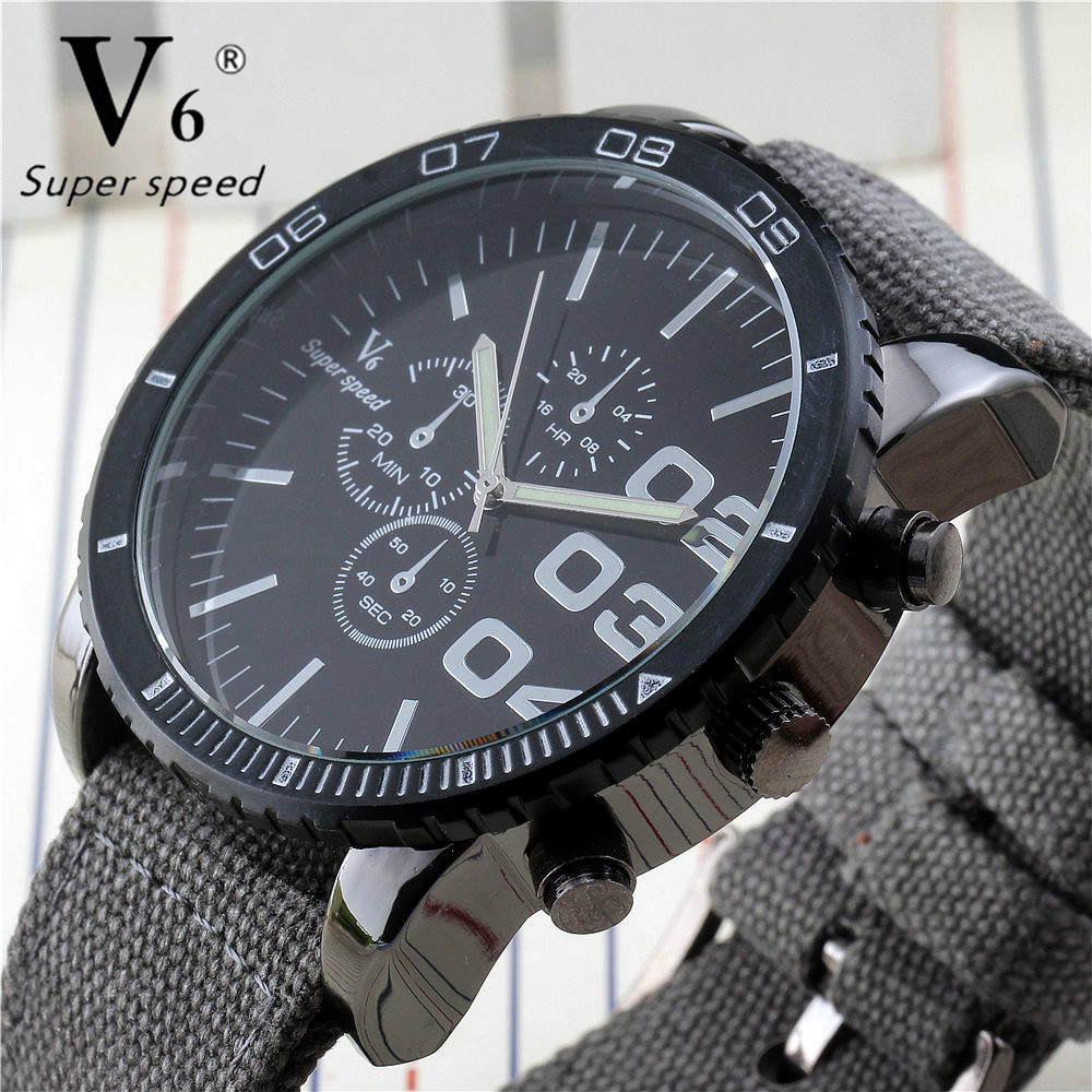 Luxury Sport Brand V6 Men'S Watches Casual Fabric Strap Quartz Watch Men Outdoor Luminous Hands Chronograph Army Military Watch v sport ft209 2