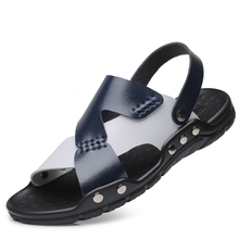 Hot 2019 Men's Large Size Genuine Leather Beach Shoes Slippers Summer Cool Man Fashion Trend Big Size Sandals
