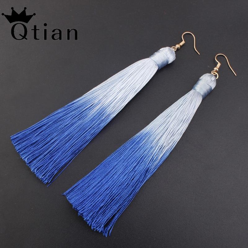 Qtian Vintage Tassel Earrings Geometric Silver Color For Women Fashion Brand Jewelry Simple Dangle Drop Earrings Wedding