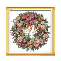 11CT 14CT Cross Stitch Needle Embroidered Cloth Drawing Complete Kit Embroidery Rose Wreath Hand Sewing Decoration