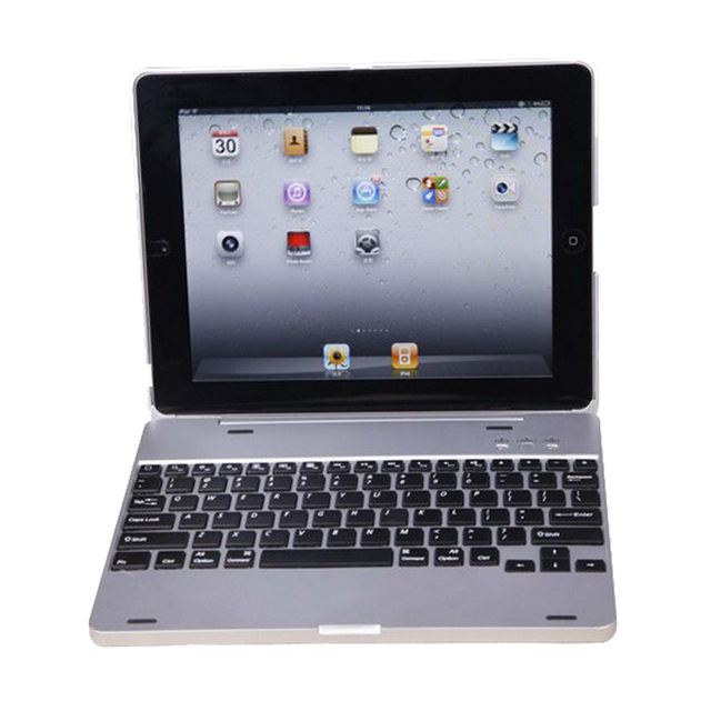 Ultra Slim Aluminium Wireless Bluetooth Keyboard Built-in 4000mAh Battery Inside with Sliver Case Cover for iPad 2 3