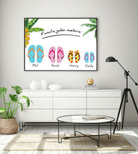 Family Gift Poster Custom Family Name Print Personalised Prints for Your Decor Beach Sliper Painting on The Wall Metal Frame(China)