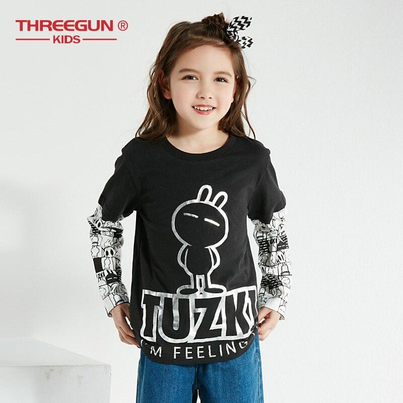THREEGUN X Tuzki Thick T-Shirts for Toddler Girls Rabbit Duck Kids Teenager T Shirt Cotton Tops Long Sleeve Tee Kids Clothing