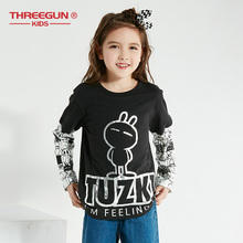THREEGUN X Tuzki Thick T-Shirts for Toddler Girls Rabbit Duck Kids Teenager T Shirt Cotton Tops Long Sleeve Tee Clothing