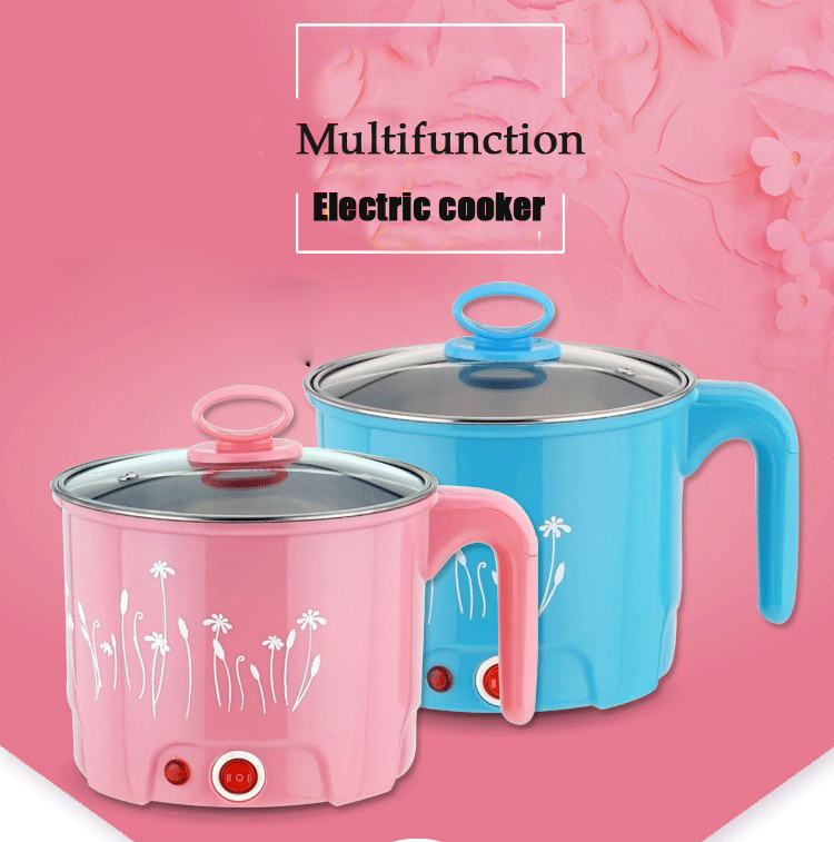 1.5L Multifunction Electric Skillet Stainless Steel Hot pot noodles rice Cooker Steamed Egg Soup Pot Mini Heating Pan 1 8l multi function cooking pot pan set electric skillet noodle rice cooker household steamed egg soup cooking pot heating pan