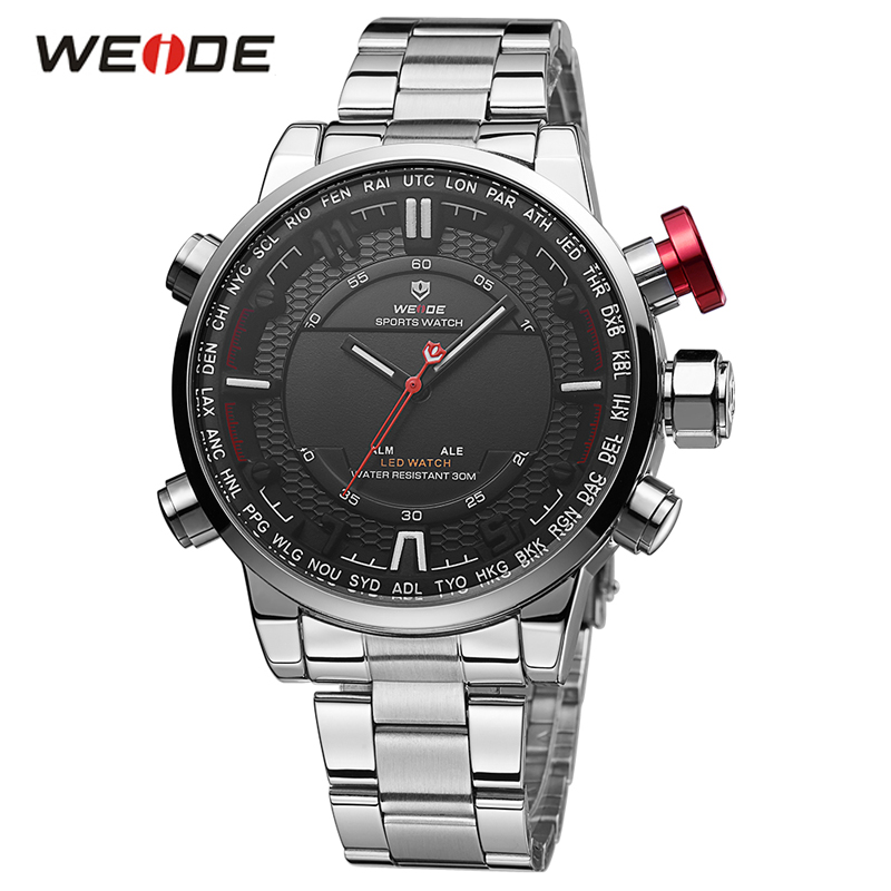 WEIDE Top Luxury Brand Men Sports Watches Men's Quartz Analog Male Army Military Wrist Watch Fashion Design Relogio Masculino fashion top gift item wood watches men s analog simple hand made wrist watch male sports quartz watch reloj de madera