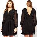 4XL más el tamaño mujeres Vestidos Vestidos 2015 XXXL para mujer Sexy vestido negro vestido de gasa para mujer grandes de gran tamaño de la señora ropa 5XL 6XL